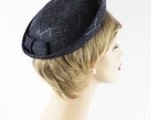 ON SALE 1960s Hat Navy Blue Straw Breton from Montaldos Sz S