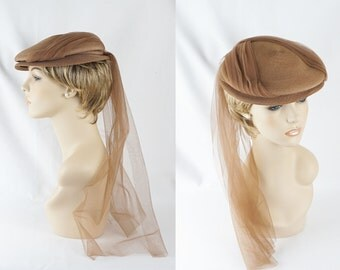 Vintage 1940s Hat Tan Straw Beret Style with Attached Long Veiling by Sherman