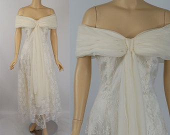 Vintage Wedding Gown Ivory Lace and Chiffon by Jessica McClintock Sz 7/8