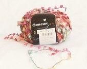 yarn, novelty yarn, Cancun 91, stacy charles, multicolor, pink, yellow, turq, C, destash