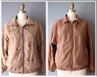 vintage 90s reversible jacket / brown floral bomber jacket / two in one jacket / large