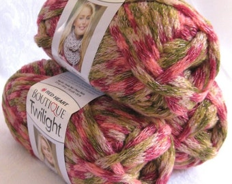 50% off - Boutique Twilight ROSE GARDEN, peach brown cream green sparkling metallic super bulky weight acrylic yarn