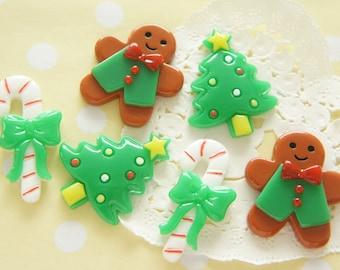 6 pcs Christmas Cabochon Set (Tree/Candy stick/Gingerbreadman) DR534