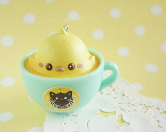 SALE 1 pc Latte Kitten Charm (5cm) AZ269 Pink cup with Yellow Chick