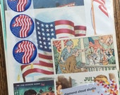 Fourth of July Fireworks, Flags and Parades Vintage Patriotic  Collage, Scrapbook and Planner Kit Number 2239