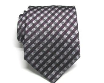 Mens Ties. Necktie Eggplant Gray Checkers Mens Neckties