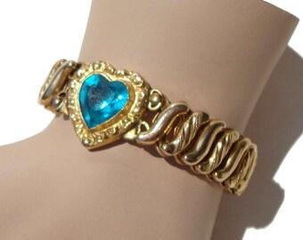 Vintage 40s Sweetheart Bracelet WWII Carmen Expansion Bracelet Aquamarine Heart DFB Co.