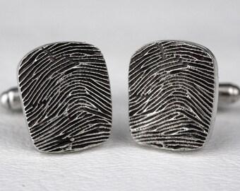 Custom Fingerprint CuffLinks Cuff Links Wedding Men Personalized in Sterling Silver