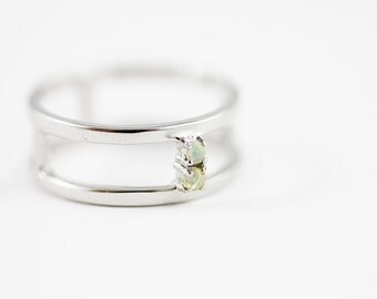 F U T U R I S T - Ethiopian opal and sterling modern cage ring