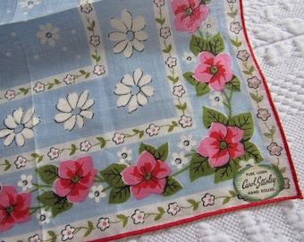 Vintage CAROL STANLEY Unused  Printed Linen Handkerchief Original Label Hand Rolled Floral White Daisy Flowers Blue Background