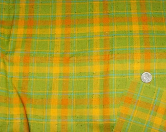 Orange Green Plaid Natural Weave Cotton Blend 2 yard x 37 inches wide