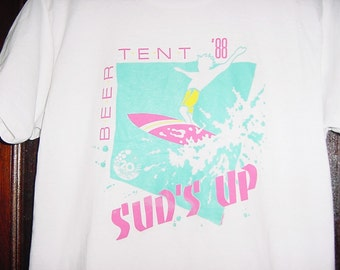 Vintage 80s Beer Tent L Screen Stars Sud's Up Surfer Dude White