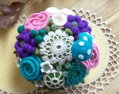 Felt flower and vintage doily pincushion