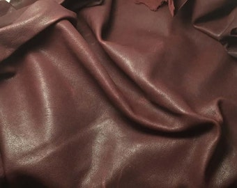 DEEP MAROON RED Supple Leather Cow Hide Piece #3