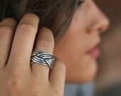 Beach Jewelry, Beach Ring, Knotted Rope Jewelry, Knotted Rope Ring, Braided Silver Ring, Beachy Nautical Design, Beach Nautical Rope Ring