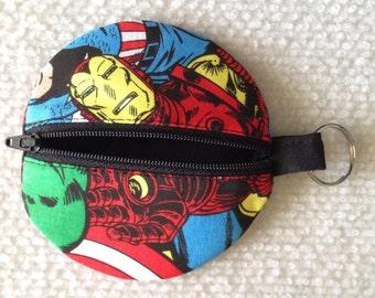 Circle earbud zippy zip pouch coin purse Super hero Ironman print