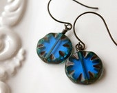 On SALE / CIJ Sale / Royal Blue Glass Dangle Earring, Antiqued Brass, Rustic, Vintage Looking, Round Coin