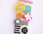 newborn baby girls bitty hair clips collection - flower ribbon snap clips set, baby hair clips