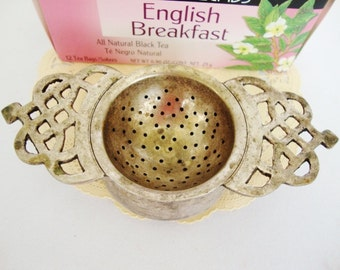 vintage tea bag holder silver plated metal tea strainer