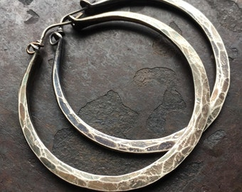 Sterling Silver Hoop Earrings / Silver Hoops / Rustic Jewelry / Sterling Hoops / Rustic Jewelry / DanielleRoseBean / Large Hoops