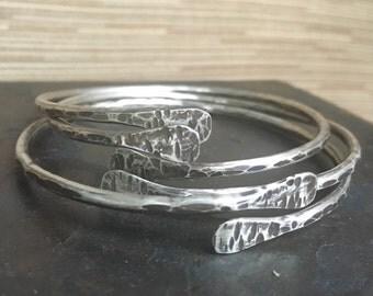Sterling Silver Bangles /  Bangle Set / Silver Bracelet Set Rustic Jewelry Daniellerosebean Bangles Metalwork Jewelry