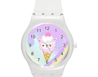 Alpacone Watch, Ice Cream Cone Watch, Kawaii Watch, Pastel Watch, WhiteWatch, Cute Watch, Fairy Kei Watch, Alpaca Watch, Sweets Watch