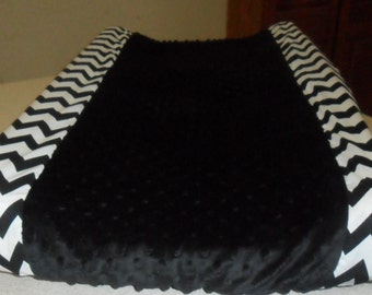 Black Chevron and Black Minky Dot Changing Pad Cover CHOICE OF MINKY