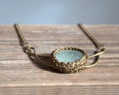 Crochet bib sea glass necklace Valentine gift for her seaweed bronze brown handmade Birthday beach gift for her