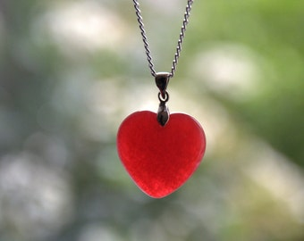 Red jade heart pendant necklace Valentine gift for her red jade Gemstone silver plated jewelry jewellery Birthday gift for her
