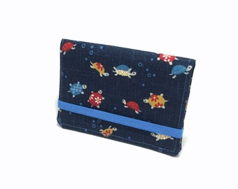 Business card holder. Gift card holder. Card case for business cards, loyalty cards, credit cards, gift cards.  Turtles on navy.