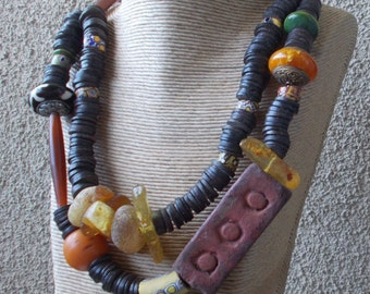 Tribal Necklace, OOAK African Trade Bead Necklace, Urban Tribal Necklace, Modern Boho Necklace