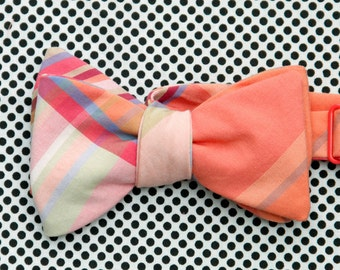 CLEARANCE - peach plaid bow tie // mens self tie bow tie // colorful plaid bow tie // totally awesome