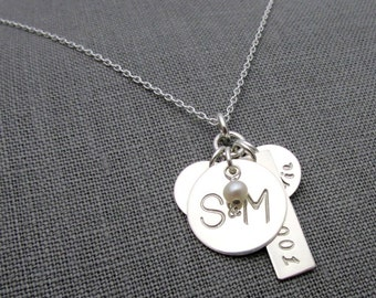 Custom Family Necklace | Sterling Silver Hand Stamped Name Charms | Couples Jewelry | New Baby Gift | E. Ria Designs