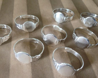 50 Shiny Silver Plated 10mm Rings Blanks Base Jewelry Glue On Finding Supplies Adjustable DIY