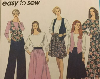 Simplicity 8670 Vest, Top, Pull On Pants and Skirt Pattern. Size 18-22
