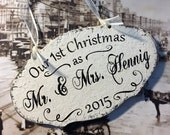 Our 1st Christmas as Mr and Mrs, Our 1st Christmas Ornaments, Wood Christmas Ornaments