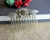 Woodland Hair Comb, Nature Inspired, Sunflower Hair Comb, Floral Filigree, Boho, Silver Leaves, Victorian Comb, Bohemian Wedding, Metal
