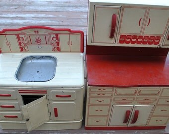 Vintage 1950s Wolverine Lithograph Toys Red Kitchen Cabinet and Sink Tin Metal Doll Cupboard