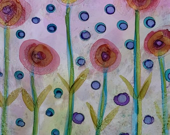 Dreaming Of Spring Original 7x5 Alcohol Ink Painting on Yupo