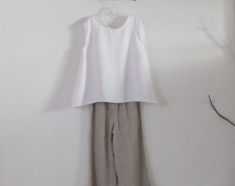 ready to wear size L simple wavy white linen top