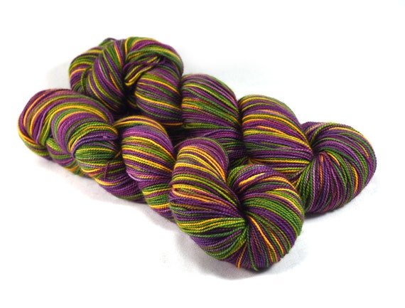 New Orleans - Letter - 100% superwash merino wool, fingering weight, Mardi Gras Yarn, hand painted yarn