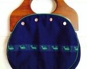 Vintage Handbag Collection, Burlington Bermuda Bag with 3 Extra Covers, Purse with Wooden Handles, Retro