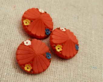 SALE VINTAGE BUTTONS Set/3 fabulous and fun flirty orange