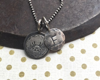 zodiac sign and initial charm necklace
