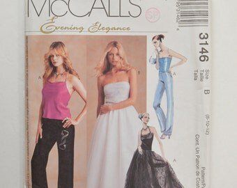 2000s UNCUT McCall's Sewing Pattern 3146 Formal Evening Halter or Tube Top, Pants & Full Skirt Size 8,10,12