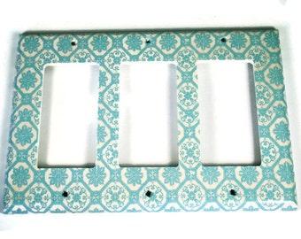 Light Blue Triple Rocker Switchplate Light Switch Cover in  Royal Family (256TR)
