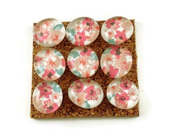 Decorative Pink and Green Floral Glass Push Pins  Thumb Tacks Cork Board Pins in Bouquet ( P77)