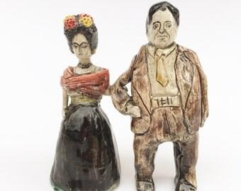 Frida Kahlo and Diego Rivera set of ceramic miniature figures