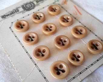 Set of 12 VINTAGE Small Iridescent Frosted Tan Plastic Sew Thru BUTTONS