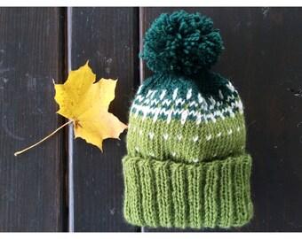 Children's Knit Winter Hat | Kid's Beanie | Green White Dark Green | Pom Pom Hat